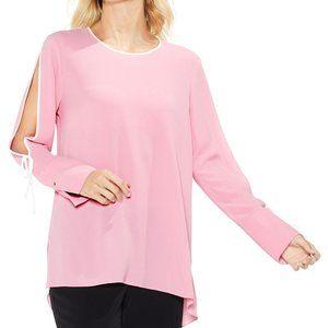 Vince Camuto Tulip Pink Split Sleeve Top Smock L